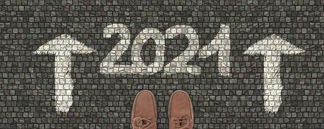 Move into 2021 including shoes, arrows and date on tiled surface
