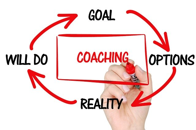 Coaching at work illustration, options, reality, actions, goals
