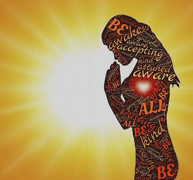 Person silhouetted in sunlight with words of reflection and awareness