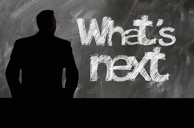 Whats Next written in chalk on blackboard