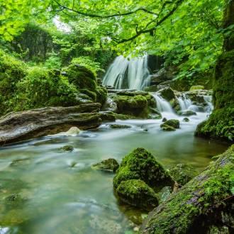 Waters flow around rocks